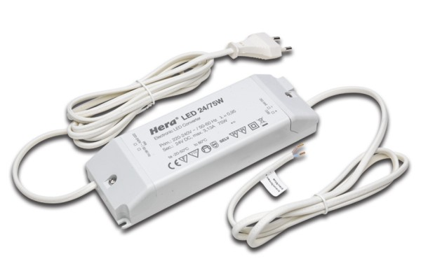 Transformer LED 24/ 75W with connecting cable 1m + ferrules